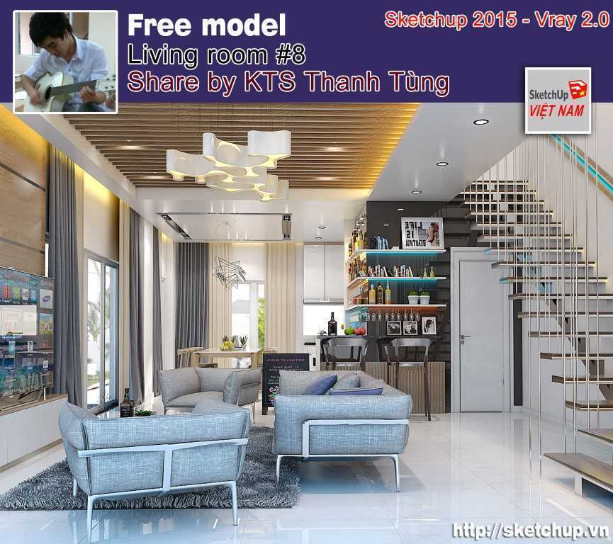 Thumbnail Free sketchup model living room #08 Vray setting - by Thanh Tùng