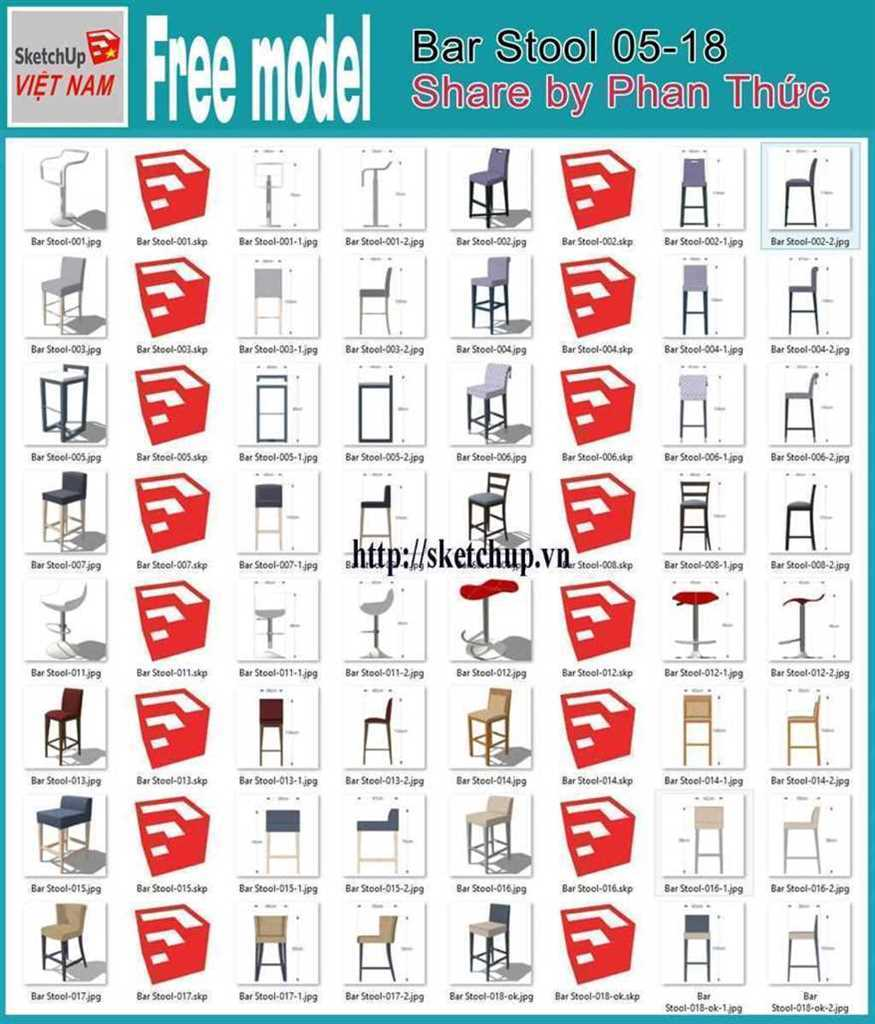 Thumbnail Free model - Bar Stool 05-18