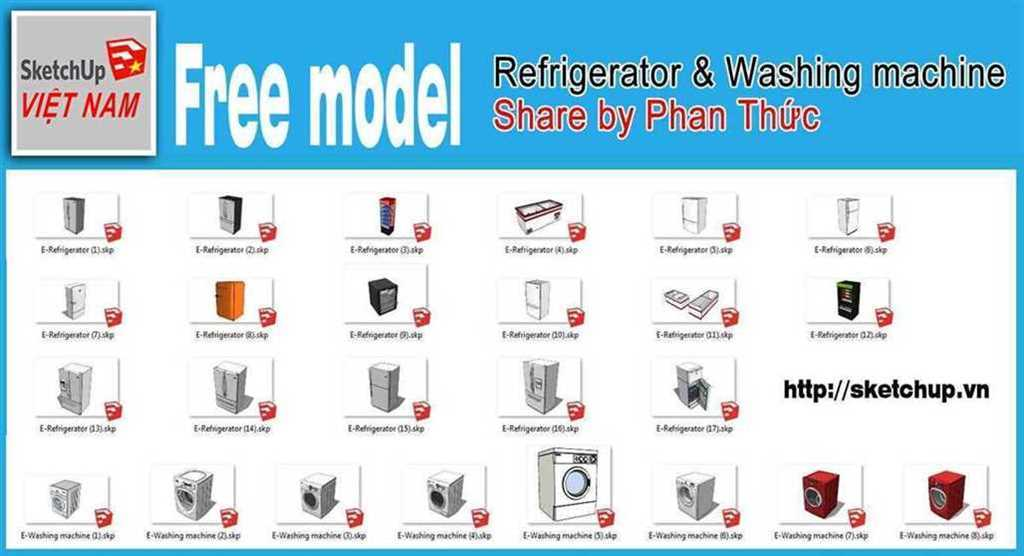 Thumbnail Free model - Refrigerator & Washing machine