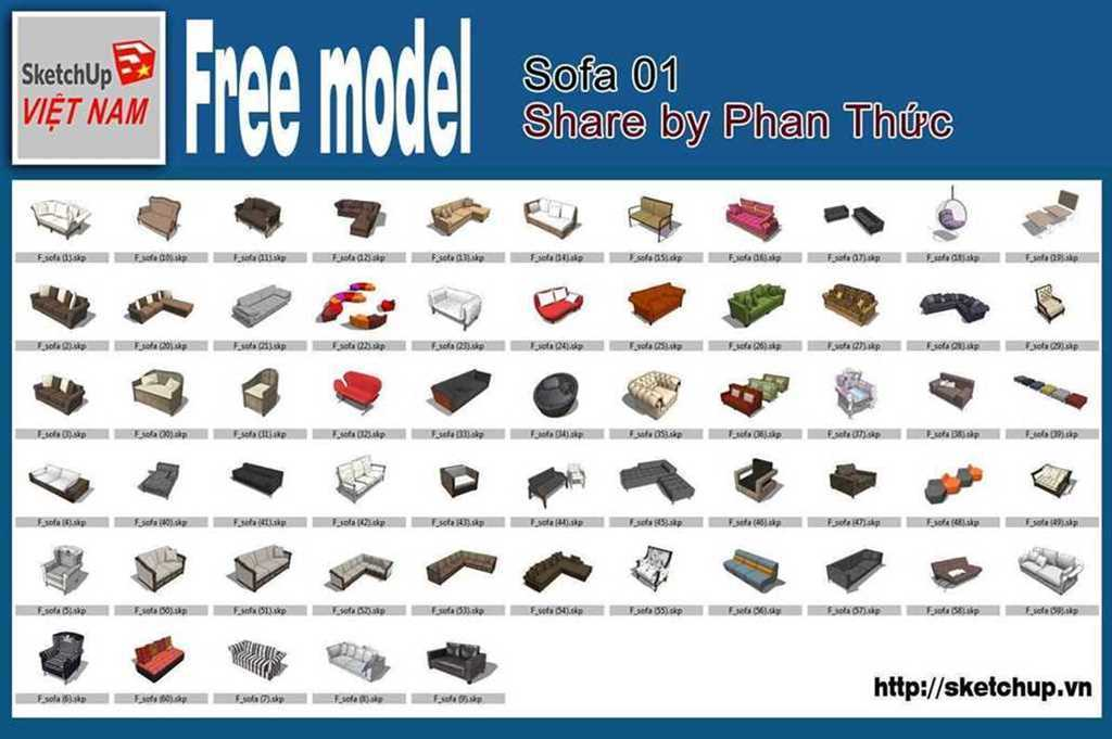 Thumbnail Free model - Sofa 01