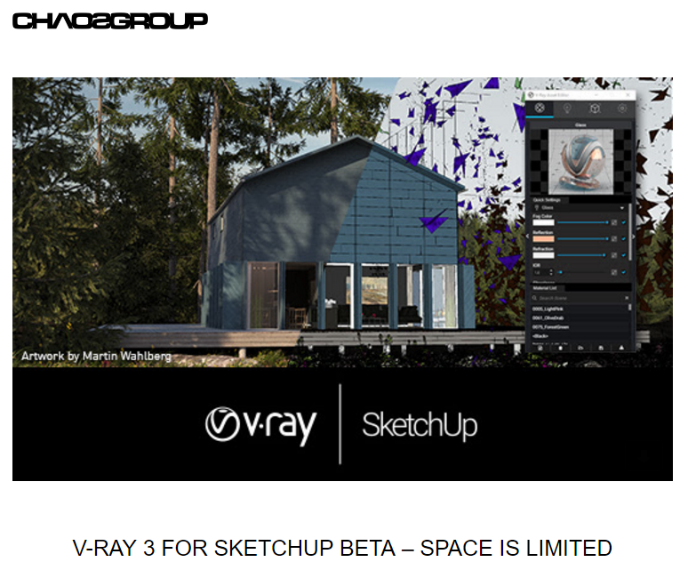 Chaos Group phát hành bản V-Ray for SketchUp 3.4 beta
