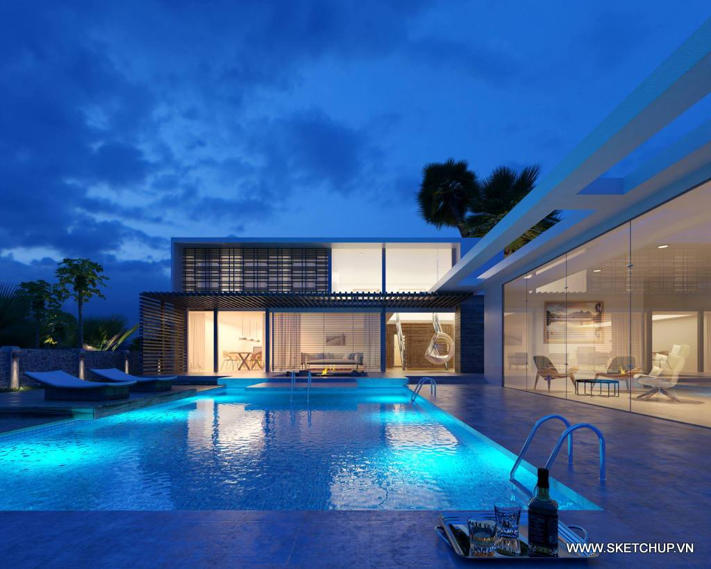 Free model Pool Villa Night Scene - Shared by by Hoan Tran